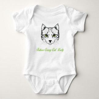 Framtida galen Bodysuit för kattdambaby med T Shirts
