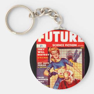 Framtida _Pulpkonst för science fiction 06 (UK) Rund Nyckelring