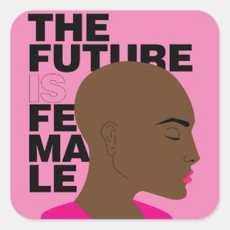 Framtiden är kvinnlig fyrkantigt klistermärke