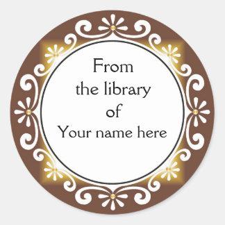 Från bibliotek av bokägarmärkear - vit virvlar runt klistermärke