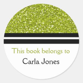 Från bibliotek av grönt glitter för bokägarmärkear runt klistermärke