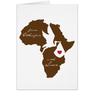 Från Etiopien med kärlekadoptionmeddelanden Hälsningskort