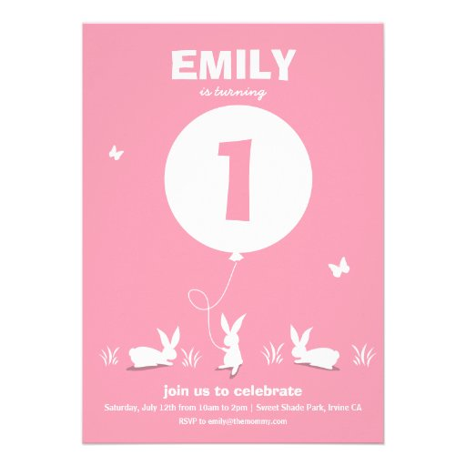 Från Lucy: Rosa barns födelsedag för KANINBALLONG  Inbjudan