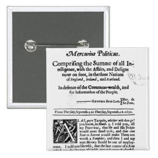 från 'Mercurius Politicus Standard Kanpp Fyrkantig 5.1 Cm