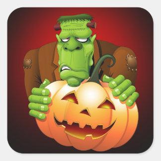 Frankenstein gigantisk tecknad med pumpa fyrkantigt klistermärke