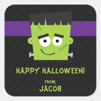 Frankenstein Halloween klistermärke, ungar Fyrkantigt Klistermärke
