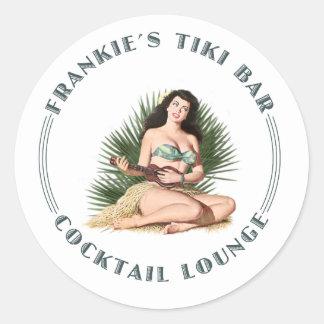 Frankies Hula för Tiki pub flicka Runt Klistermärke