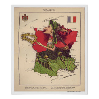 Frankrikekarikatyrkarta 1868 poster