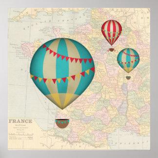 Frankrikeluftballonger Affisch