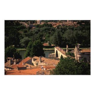 Frankriken Avignon, Provence. Pont St, Benezet. Fototryck
