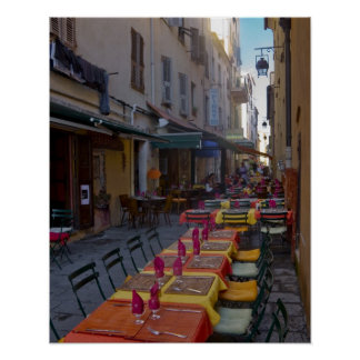 Frankriken Corsica. Bord av cafen ställer in i sma Poster