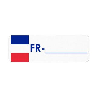 """Frankriken """"flaggastil """" för Postcrossing legitima Returadress Etikett"""