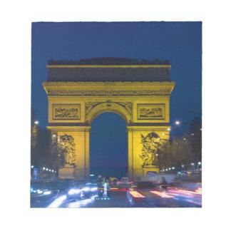 Frankriken Paris. Arcet de Triomphe och Anteckningsblock