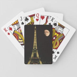Frankriken Paris. Eiffel torn på natten med Spelkort