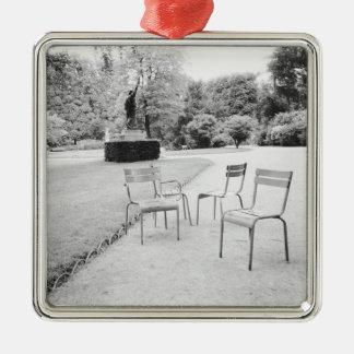 FRANKRIKEN Paris: Luxembourg trädgårdstaty av Silverfärgad Fyrkantigt Julgransprydnad