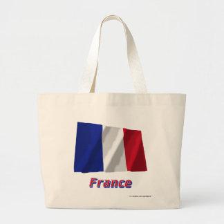 Frankriken som vinkar flagga med namn tote bags