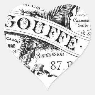 fransk advertizingtypografi för vintage hjärtformat klistermärke