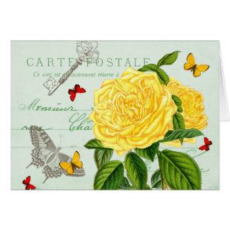 Fransk blom- vintage noterar kortet med härligt OBS kort