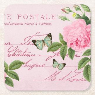 Fransk blom- vintagekustfartyg med rosa ros underlägg papper kvadrat