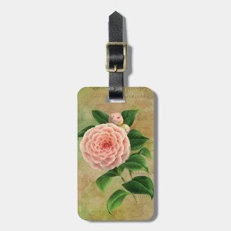 Fransk botanisk personlig för vintageCamellia Bagagebricka