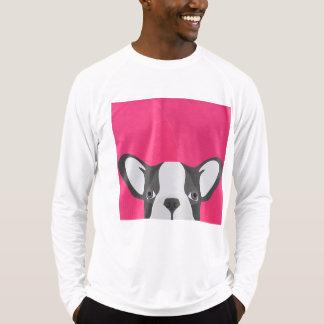 Fransk bulldogg för illustration med rosa bakgrund tröjor