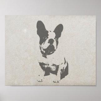 fransk bulldogg för tryck i vintagestruktur