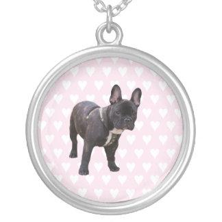 Fransk bulldogg med rosa- & vithjärtahalsbandet silverpläterat halsband