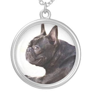 Fransk bulldogg silverpläterat halsband