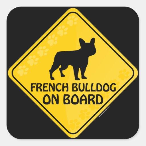Fransk bulldogg Xing Fyrkantiga Klistermärken