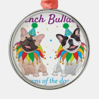 Fransk bulldoggclown - fransk bulldoggklubb för rund silverfärgad julgransprydnad
