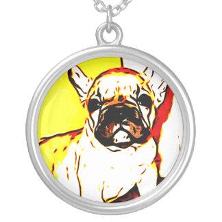Fransk bulldoggkonst silverpläterat halsband