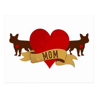 Fransk bulldoggmamma [tatueringstil] vykort