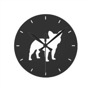 Fransk bulldoggSilhouette Medium Rund Klocka