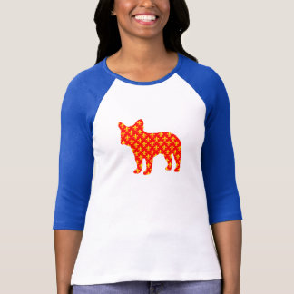 Fransk bulldoggSilhouetteT-tröja fluer de lis Tee Shirt