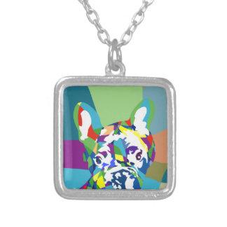 Fransk bulldoggsitta silverpläterat halsband