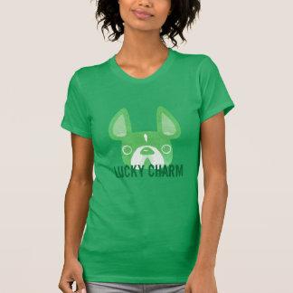 Fransk bulldoggutslagsplats för lycklig berlock tee shirts