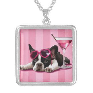 Fransk bulldoggvalp silverpläterat halsband