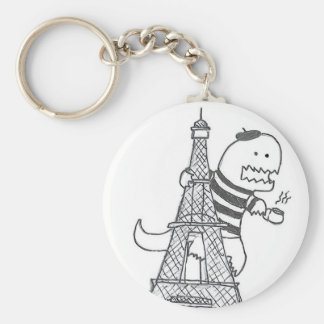 Fransk Dinosaur Keychain Rund Nyckelring