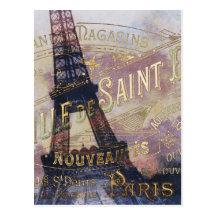 Fransk etikett för vintage och Eiffel torn Vykort