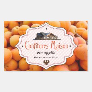 Fransk etikettaprikos för hemlagad sylt rektangulärt klistermärke