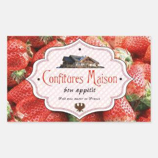 Fransk etikettjordgubbe för hemlagad sylt rektangulärt klistermärke