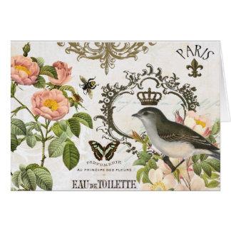 Fransk fågel för vintage med kronanotecard OBS kort