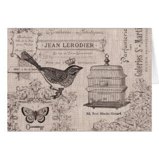 Fransk fågelnotecard för vintage OBS kort