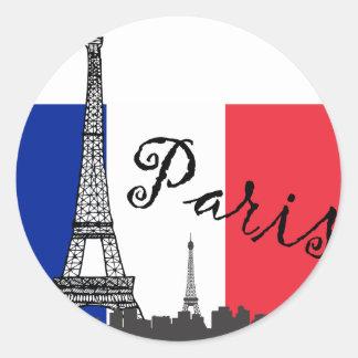 Fransk flagga och det Eiffel torn Runt Klistermärke