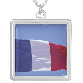 Fransk flagga silverpläterat halsband
