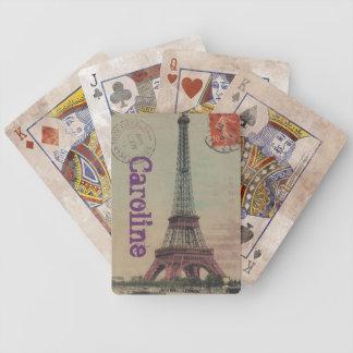 Fransk för Eiffel tornvintage som leker kort Spelkort