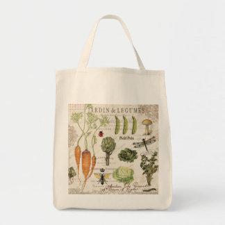 fransk grönsakträdgård för modern vintage mat tygkasse