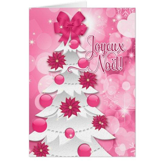 Fransk Joyeux Noël - rosa julstjärnajul Hälsningskort