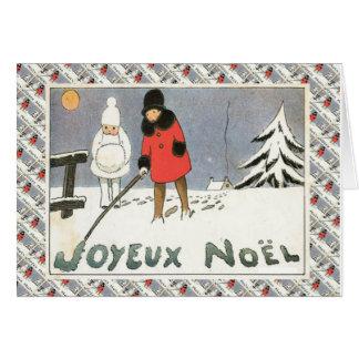 Fransk jul för vintage, barn i snön hälsningskort
