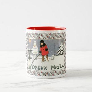 Fransk jul för vintage, barn i snön Två-Tonad mugg